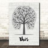 Darius Rucker This Music Script Tree Song Lyric Print