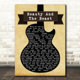 Celine Dion Beauty And The Beast Black Guitar Song Lyric Quote Print