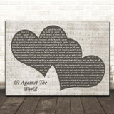 Westlife Us Against The World Landscape Music Script Two Hearts Song Lyric Print
