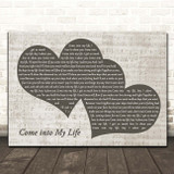 Joyce Sims Come into My Life Landscape Music Script Two Hearts Song Lyric Print