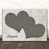 Bryan Adams Heaven Landscape Music Script Two Hearts Song Lyric Print