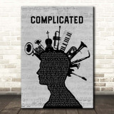 Avril Lavigne Complicated Musical Instrument Mohawk Song Lyric Print