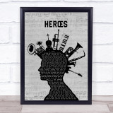 David Bowie Heroes Musical Instrument Mohawk Song Lyric Print