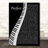 Ed Sheeran Perfect Piano Song Lyric Print