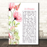 Roy Orbison In Dreams Floral Poppy Side Script Song Lyric Print