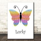 Jason Mraz Lucky Rainbow Butterfly Song Lyric Print