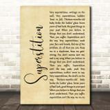 Stevie Wonder Superstition Rustic Script Song Lyric Print