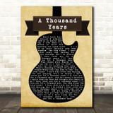 Christina Perri A Thousand Years Black Guitar Song Lyric Quote Print