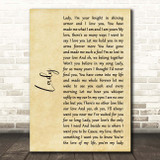 Kenny Rogers Lady Rustic Script Song Lyric Print