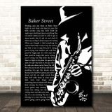 Gerry Rafferty Baker Street Black & White Saxophone Player Song Lyric Print