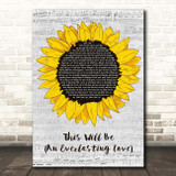 Natalie Cole This Will Be (An Everlasting Love) Grey Script Sunflower Song Lyric Print