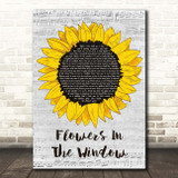 Travis Flowers In The Window Grey Script Sunflower Song Lyric Print