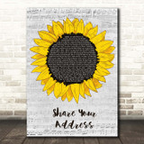 Ben Platt Share Your Address Grey Script Sunflower Song Lyric Print