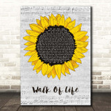 Dire Straits Walk Of Life Grey Script Sunflower Song Lyric Print