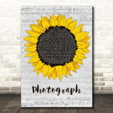 Ed Sheeran Photograph Grey Script Sunflower Song Lyric Print
