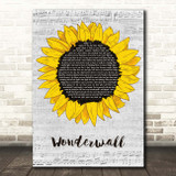 Oasis Wonderwall Grey Script Sunflower Song Lyric Print