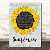 The Courteeners Sunflower Grey Script Sunflower Song Lyric Print