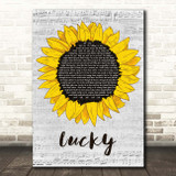 Jason Mraz Lucky Grey Script Sunflower Song Lyric Print