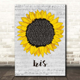 Goo Goo Dolls Iris Grey Script Sunflower Song Lyric Print