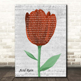 Avenged Sevenfold Acid Rain Grey Script Watercolour Tulip Song Lyric Print