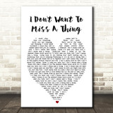 I Don't Want To Miss A Thing Aerosmith Heart Quote Song Lyric Print