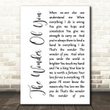 Elvis Presley The Wonder Of You White Script Song Lyric Quote Print