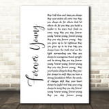 Bob Dylan Forever Young White Script Song Lyric Quote Print