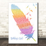 Marcie Blane Bobby's Girl Watercolour Feather & Birds Song Lyric Print