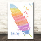David Bowie Heroes Watercolour Feather & Birds Song Lyric Print