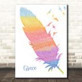 Lewis Capaldi Grace Watercolour Feather & Birds Song Lyric Print