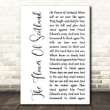 The Corries The Flower Of Scotland White Script Song Lyric Print