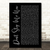 Queen Don't Stop Me Now Black Script Song Lyric Quote Print