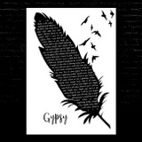 Fleetwood Mac Gypsy Black & White Feather & Birds Song Lyric Music Art Print