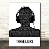 The Lightning Seeds Three Lions Black & White Man Headphones Song Lyric Music Art Print