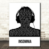 Faithless Insomnia Black & White Man Headphones Song Lyric Music Art Print