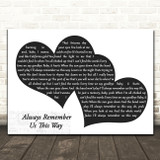 Lady Gaga Always Remember Us This Way Landscape Black & White Two Hearts Song Lyric Music Art Print