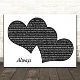 Bon Jovi Always Landscape Black & White Two Hearts Song Lyric Music Art Print
