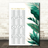 The Tokens The Lion Sleeps Tonight Gold Green Botanical Leaves Side Script Song Lyric Music Art Print
