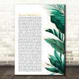 Celine Dion Because You Loved Me Gold Green Botanical Leaves Side Script Song Lyric Music Art Print
