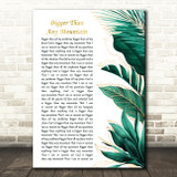 Ann Downing Bigger Than Any Mountain Gold Green Botanical Leaves Side Script Song Lyric Music Art Print