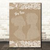 Westlife This Rose Burlap & Lace Song Lyric Music Art Print