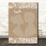 Robbie Williams Angels Burlap & Lace Song Lyric Music Art Print