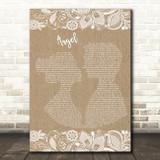 Shaggy Angel Burlap & Lace Song Lyric Music Art Print
