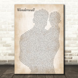 Oasis Wonderwall Father & Baby Song Lyric Music Art Print