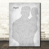 Robbie Williams Angels Father & Baby Grey Song Lyric Music Art Print