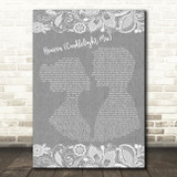 Dj Sammy Heaven (Candlelight Mix) Grey Burlap & Lace Song Lyric Music Art Print