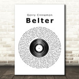 Gerry Cinnamon Belter Vinyl Record Song Lyric Quote Print