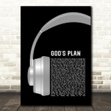 Drake God's Plan Grey Headphones Song Lyric Music Art Print