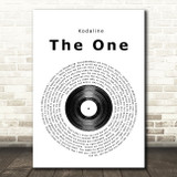 Kodaline The One Vinyl Record Song Lyric Quote Print