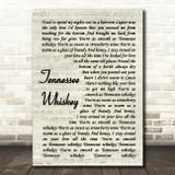 Chris Stapleton Tennessee Whiskey Vintage Script Song Lyric Quote Print
